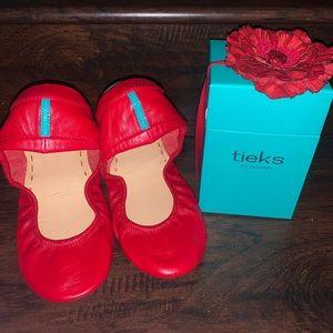 NIB Tieks True Love Red Leather Ballet Flats 10